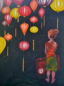 I've had the chance to work with some great people this year on artworks for their homes and workspaces. This one was for a pair of travellers who wanted something for their new home to go along with the theme of world travel. One of the places they had loved visiting was Vietnam and these hanging lanterns created such a great sense of other world culture and adventure. And who can resist a vintage suitcase...